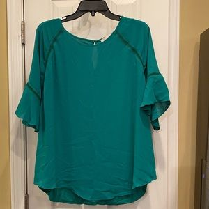 NWT Emerald green Loft short sleeve blou…